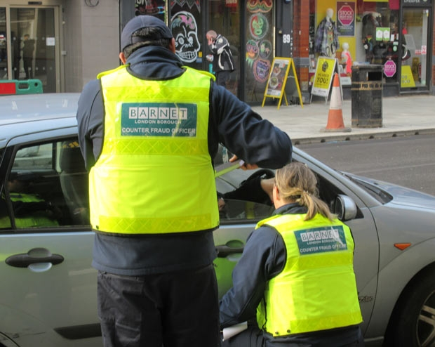 Officers from the blue badge fraud team checked cars in the High Street