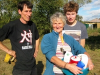 Philip Patenall and his son Matthew, with Sue Bird, vice-chair of Friends of Barnet Countryside Centre