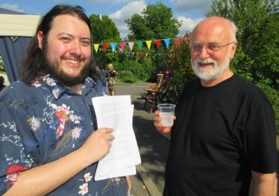 Quizmaster Curtis Gallant (left) holding the answers close to his chest, together with Tony Barnes, one of the organisers of Manorside's street part in memory of Jo Cox