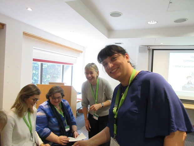 A training session at the North London Hospice. From left to right, Ilona Zielonka, Ann Ryan, hospice practice educators Fran Watson and Kate Phillips