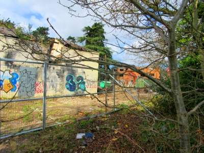 Derelict nurses' home at Elmbank now being demolished