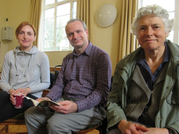 Michael King, a founder member of the Group, to his right is Anita Butler, and to his left Jane Strange