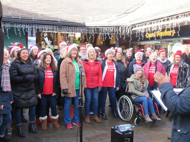 North London's Big Choir entertained the crowd at the Spires shopping centre