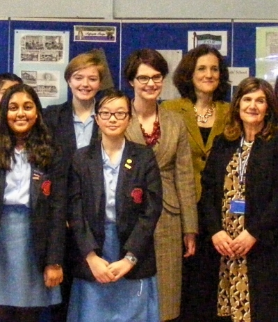 Pupils at QE Girls' School joined (from left to right) Chloe Smith, Minister for the Constitution; Theresa Villiers, MP for Chipping Barnet; and Violet Walker, headteacher, QE Girls' School