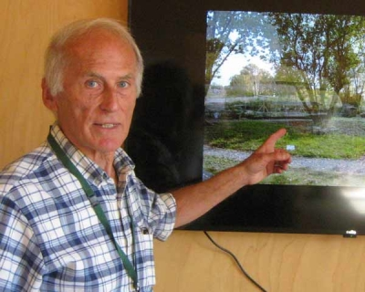 Dick Elms, vice chair and trustee, took visitors through the video recording wildlife at the Environment Centre