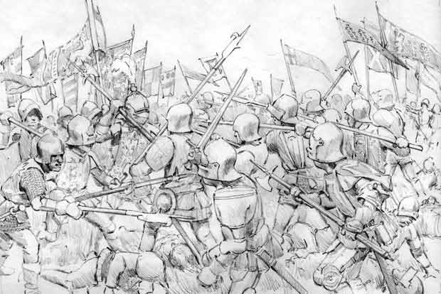 Graham Turner's preliminary sketch for his oil painting depicting the 1471 Battle of Barnet