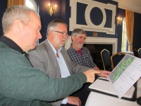 Club members with plans (l to r) Paul Grant, project leader; Robin Loader, past chairman; and Derek Seeley