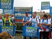 Marchers outside Barnet Hospital