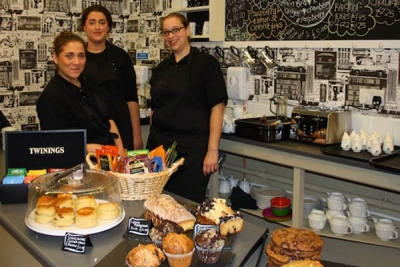 At your service at the Tea Station from left to right, Sophie Theophanous, Sara Conway and Annie Hussain