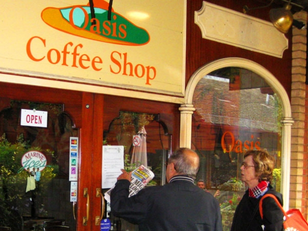 Loyal customers shocked to read the bailiff's notice on the front door of the Oasis coffee shop