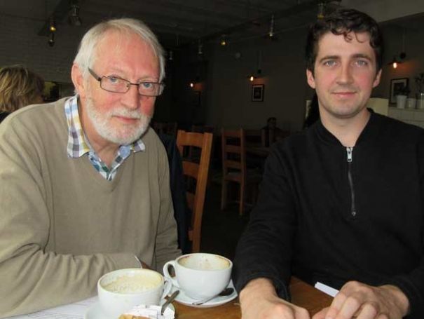 Robin Bishop, chair of the Barnet Society (left) was briefed by Culainn Shanahan on his plans to undertake a research study into future options for safeguarding as much as possible of the Whalebones green space