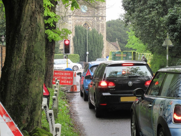 Trafic queues at Monken Hadley