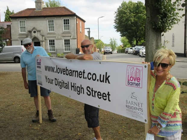 Bob Burstow (left), Nigel Murchison and Gail Laser launch Digital High Street banner