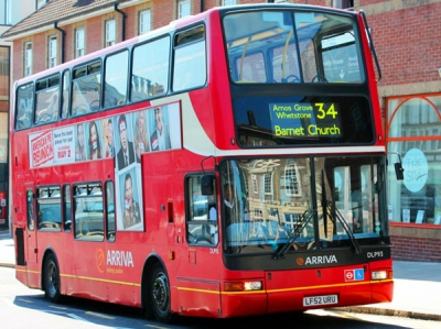34 bus at top of Barnet Hill