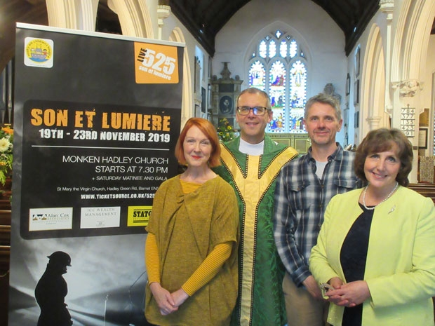 From left to right, Claire Fisher, dramatist and drama producer; rector, the Reverend Dr Thomas Renz; Charlie Fisher, who has the part of Captain Tempest-Hicks; and production manager, Katie Morris