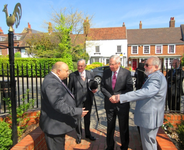 The Duke of Gloucester at Barnet Museum. From left to right, Mike Noronha, trustee Barnet Museum; Martin Russell, Deputy Lieutenant for Greater London; the Duke of Gloucester; Mike Jordan, chair of the trustees