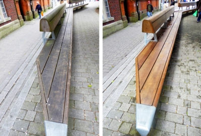 The bench before and after