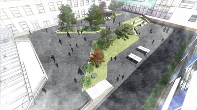 View of Ark courtyard - the only playground currently proposed for 600 primary pupils