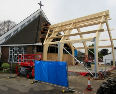 Construction underway of a 100-seat extension to Barnet's Roman Catholic Church