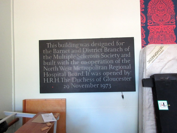 The plaque in the Marie Foster building looking rather sad
