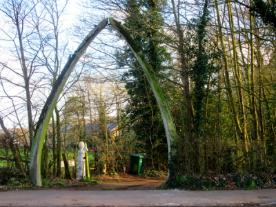 Blue-whale jaw bones dating from the 1930s stand at the Wood Street entrance to the Whalebones estate