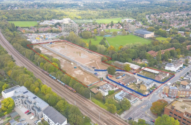 Aerial view of the former gas works site at New Barnet