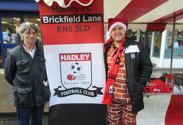 "Oliver Deed (right) in the full splendour of his ""Come on You Bricks"" outfit along with fellow supporter Tony Swingler"