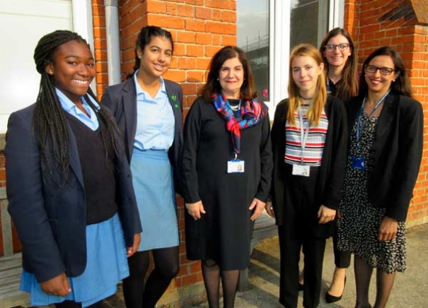Violet Walker, head teacher of QE Girls, with students and teachers. From left to right, Nanaekua Minta, Afsham Fareed-Birtill, Mrs Walker, Anna Taylor, Lindsey Southwell and Deepika Makkar.