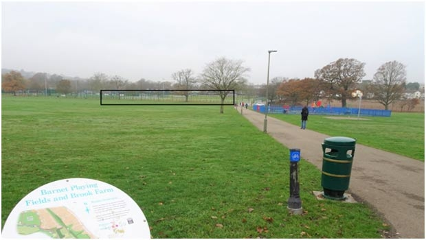 Barnet Playing Fields – The box indicates the probable bulk of the proposed building