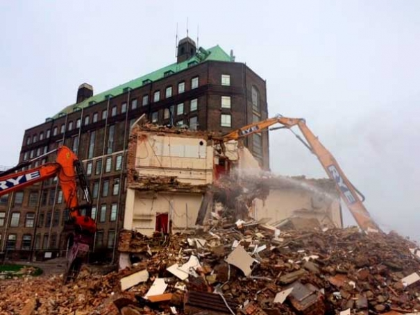 Demolition in progress at Mill Hill
