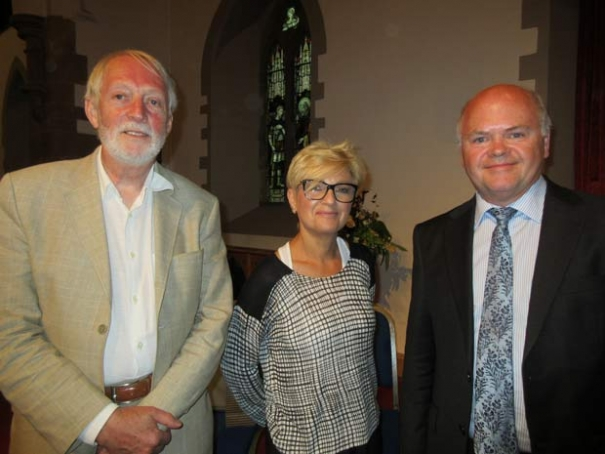 Council David Longstaff (far right), guest speaker at the Barnet Society's annual general meeting, was welcomed by the chair, Robin Bishop (left) and the vice-chair Gail Laser