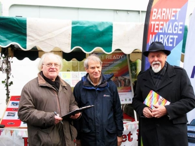 Campaigners for Barnet's teenage market, (from left to right), Kit Carter who represents Friends of Barnet Market on Barnet Town Team; Chris Nightingale, of Friends of Barnet Market; and Bob Burstow, Secretary of Barnet Town Team