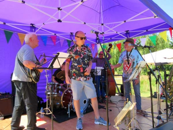 Home Cooking, one of the bands, that entertained hundreds enjoying an afternoon of jazz on Hadley Green