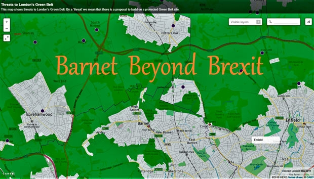 Chipping Barnet's Green Belt. Purple dots represent proposed housing developments in it.