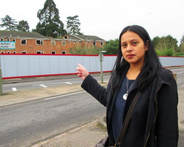 Serena Rushton of Stop the Over Development of Arkley outside the Elmbank site on Barnet Road