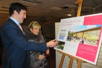Gail Laser of Love Barnet is shown the plans by James Winpenny, Hunter Real Estate