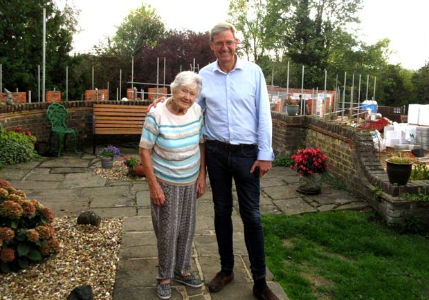 Winifred Gale, aged 98, the oldest resident in the 56 almshouses and Simon Smith, clerk to the visitors.