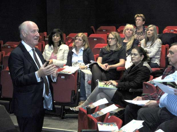 Richard Cornelius, leader of Barnet Council fielding questions at an Engage Barnet event at the Bull Theatre