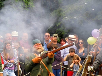 Richard Jupp gives a demonstration of medieval gunnery at Barnet's first medieval festival