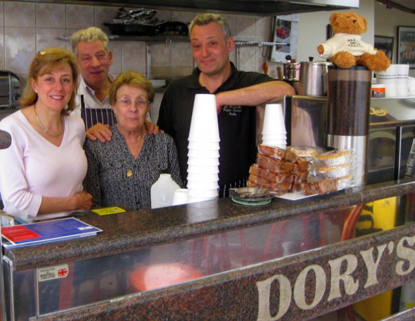 Tony and Dorina, their son and daughter, Giuliano and Angela, continuing a family tradition at Dory's cafe