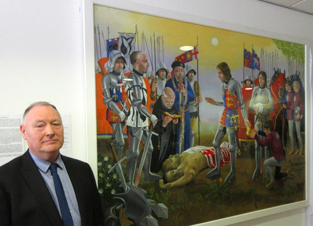 Keith West and his painting of the victorious King Edward IV at the 1471 Battle of Barnet