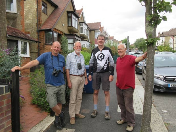Delivery of leaflets and advice on installing nest boxes for swifts is being co-ordinated by ornithologist David Martens. From left to right, Mr Martens, Robin Bishop, Alex Coltman and Tim Friend