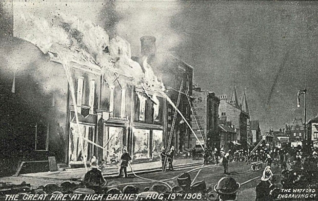 "Three shops in Barnet High Street – next to Barclays bank – were destroyed in the ""great conflagration"" of 1908 when firemen complained they had been hampered by a shortage of water"