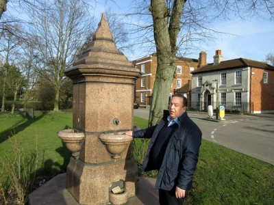 Peter Wanders is leading a campaign to get water reconnected to the historic Hadley Green drinking fountain.