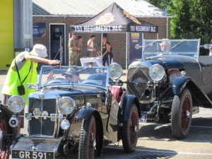 Classic cars arriving at the Army Reserve Centre in St Albans Road in support of Armed Forces Day