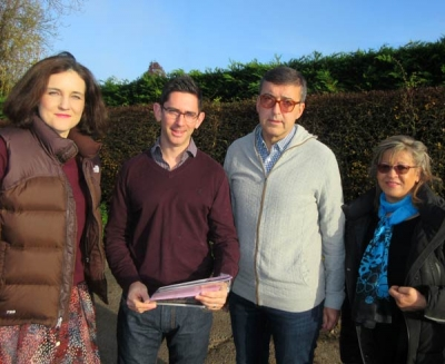 Theresa Villiers, the Chipping Barnet MP, with fellow Arkley residents to re-launch the Arkley Protection Group. From the left to right, Mrs Villiers, David Press, Simon Ross and Sasha Capocci