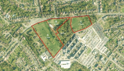 An image issued by the developers shows the Whalebones woods and fields divided up into three plots to be used for residential development and new public green spaces.
