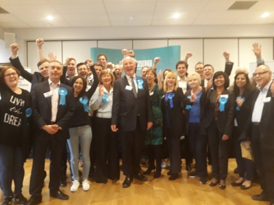 Richard Cornelius, Conservative leader, celebrating his party's success in seeing off Labour's challenge for control of Barnet Council.