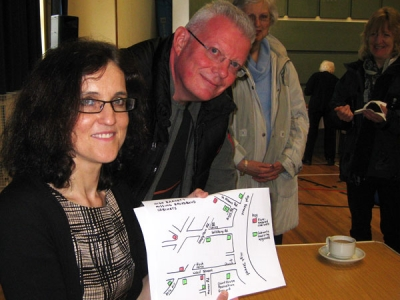 Mrs Theresa Villiers, Chipping Barnet MP, with Ken Rowland of Salisbury Road, Barnet, one of the many local residents without a fast broadband connection