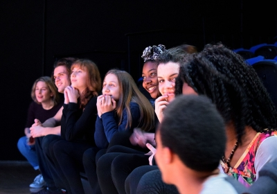 Workshop where students shared their experiences as part of a theatrical project to tackle cyber-bullying